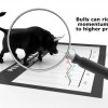 Momentum seen as a bull on a stock chart through a magnifying glass!