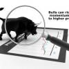 Momentum seen as a bull on a stock chart through a magnifying glass!