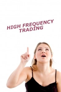 """Woman looking and pointing up and asks, """"High frequency trading does what for me...or should I ask, does what to me?"""""""